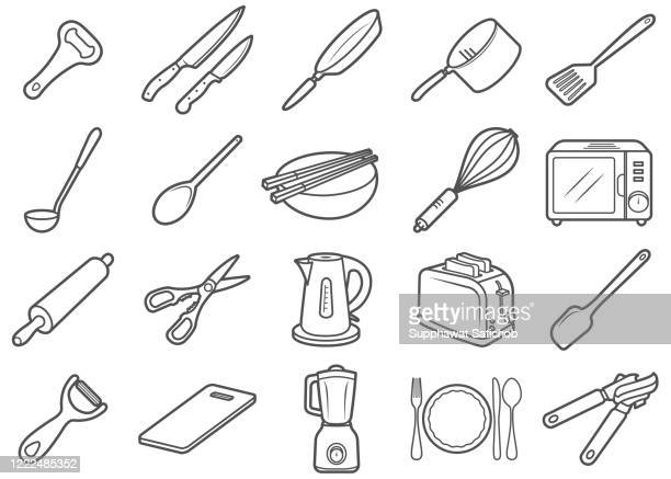 クッキングラインアイコンセット - 片手鍋点のイラスト素材/クリップアート素材/マンガ素材/アイコン素材