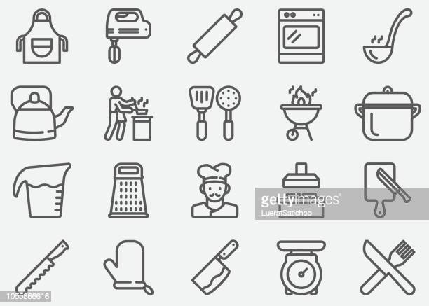 cooking line icons - kitchen scale stock illustrations, clip art, cartoons, & icons
