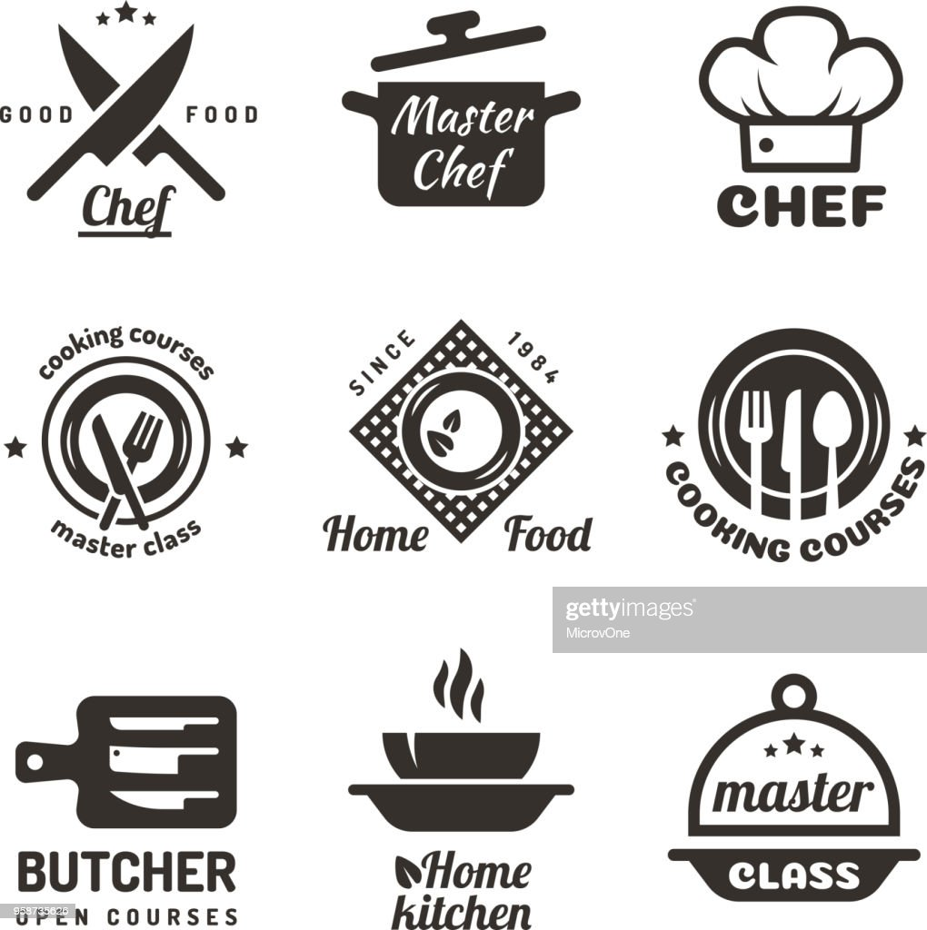 Cooking master classes labels. Restaurant or cafe menu emblems. Chef vector  isolated on white background