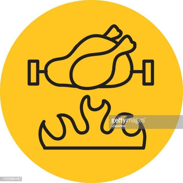 ilustraciones, imágenes clip art, dibujos animados e iconos de stock de método de cocción rotisserie spit flame - pollo asado