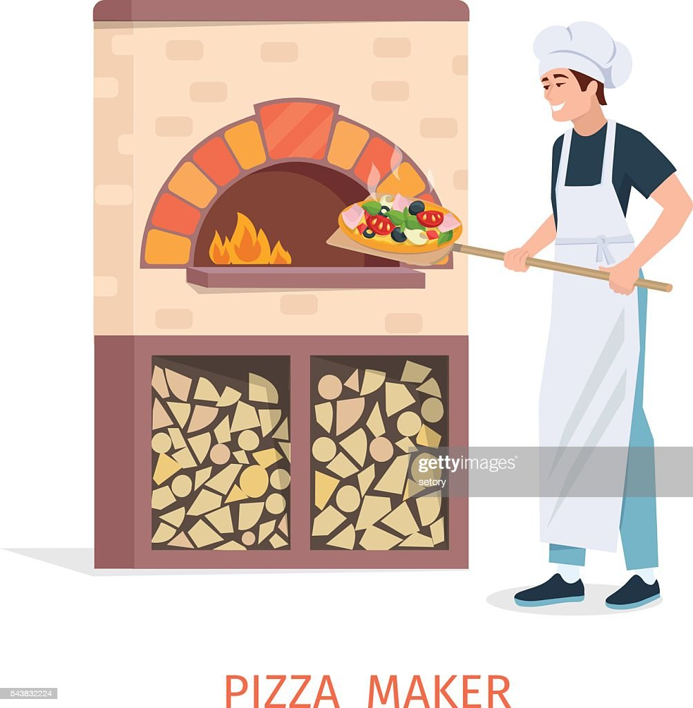 Cooking pizza vector illustration.