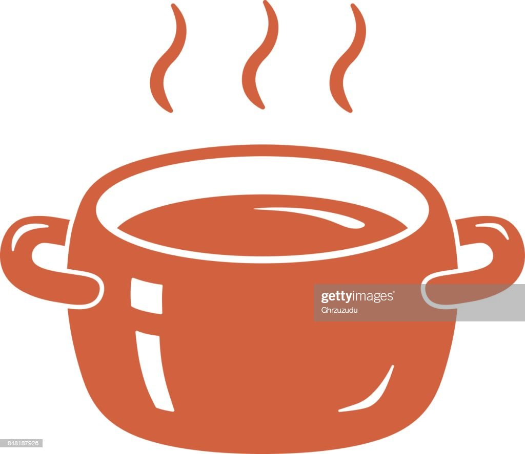 Cooking pot or tureen with hot food.