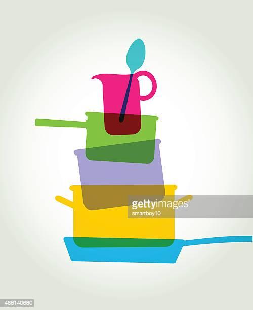 料理の鍋、フライパン、その他の台所項目 - シチュー鍋点のイラスト素材/クリップアート素材/マンガ素材/アイコン素材