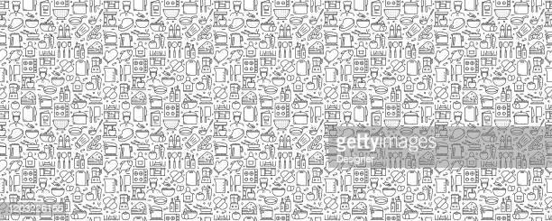 ラインアイコンを使用した料理関連のシームレスパターンと背景 - 主婦業点のイラスト素材/クリップアート素材/マンガ素材/アイコン素材