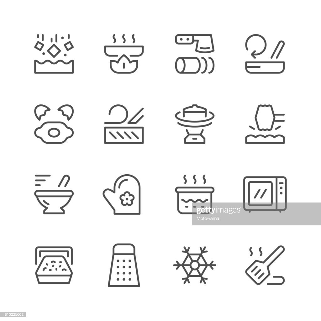 Cooking related set line icons
