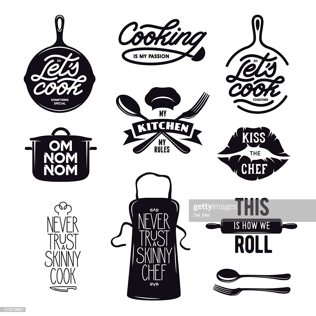 Cooking related typography set. Quotes about kitchen. Vintage vector illustration.