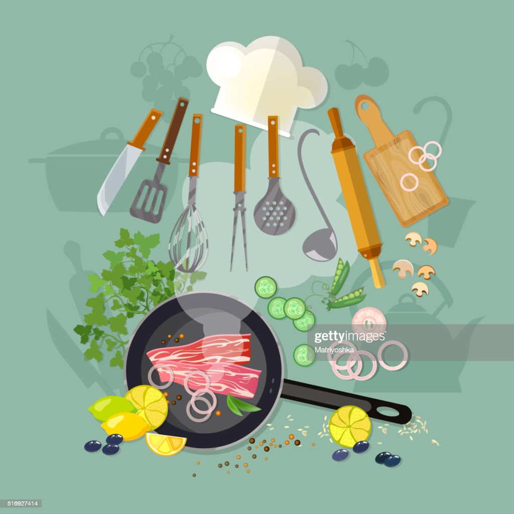 Cooking top view fry meat in a frying pan kitchenware