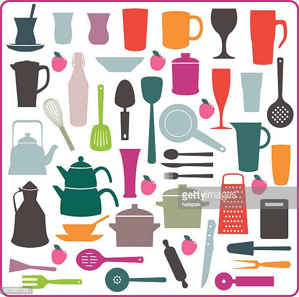 cooking utensil colorful silhouette - kitchenware department stock illustrations, clip art, cartoons, & icons