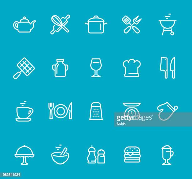 cooking utensils - line icon set - food state stock illustrations, clip art, cartoons, & icons