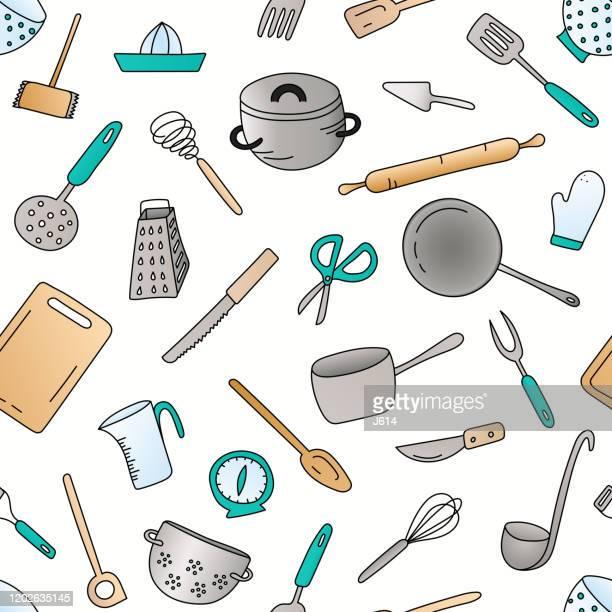 stockillustraties, clipart, cartoons en iconen met kookgerei naadloos patroon - dunschiller