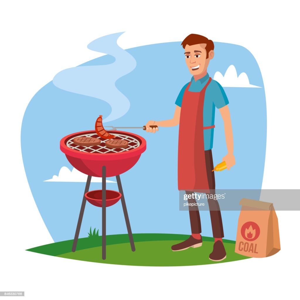 BBQ Cooking Vector. Classic American Smiling Man Barbecuing. Isolated On White Cartoon Character Illustration