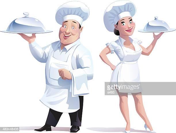 ilustraciones, imágenes clip art, dibujos animados e iconos de stock de cocina a la vista - chef