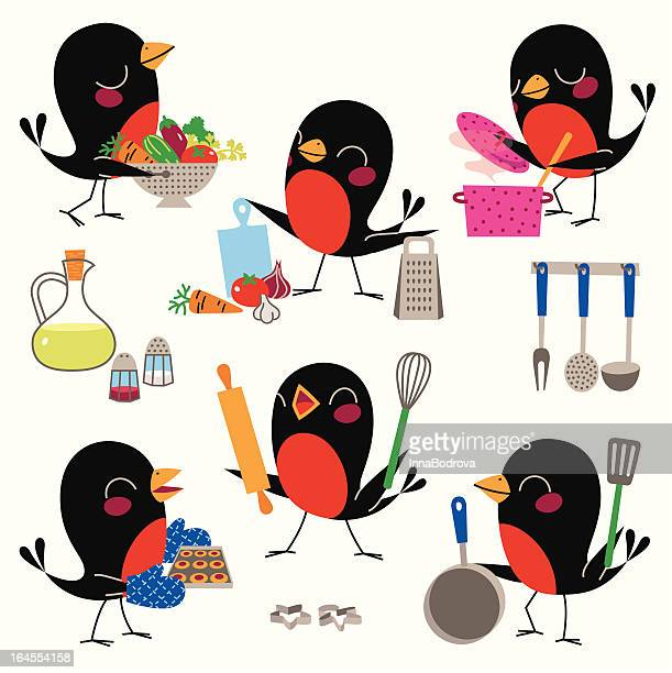 cooking with birds. - baked stock illustrations, clip art, cartoons, & icons