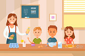 Cooking with Kids. Vector Flat Illustration.