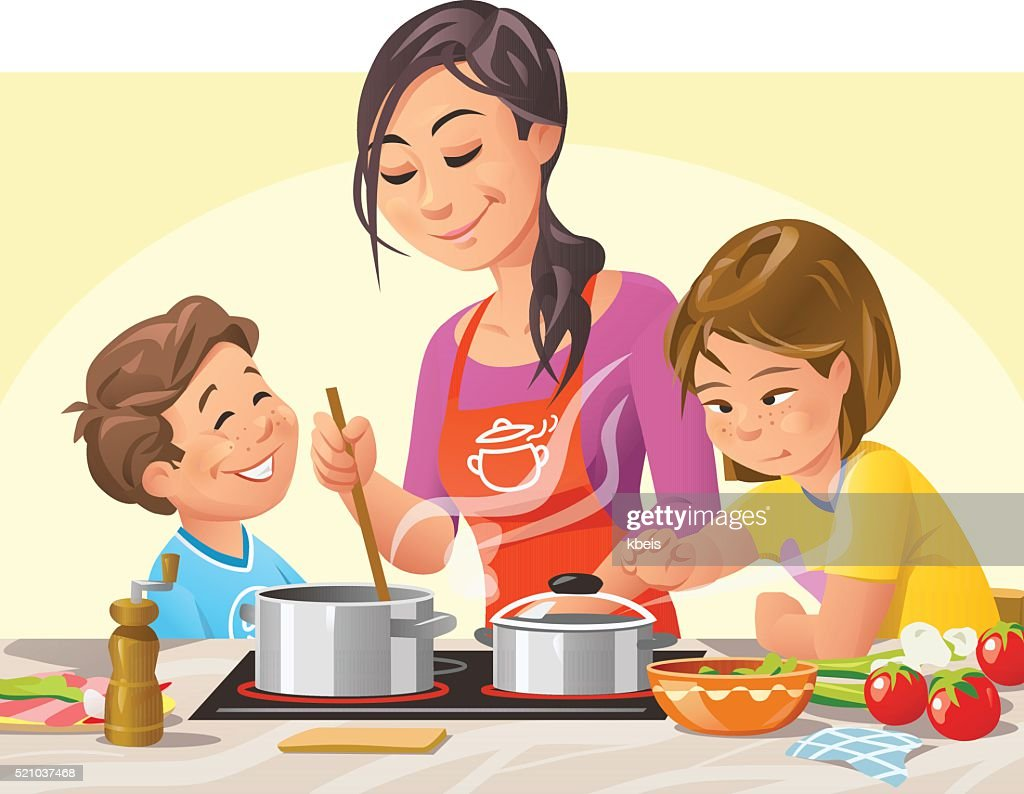 Cooking With Kids : Stock Illustration