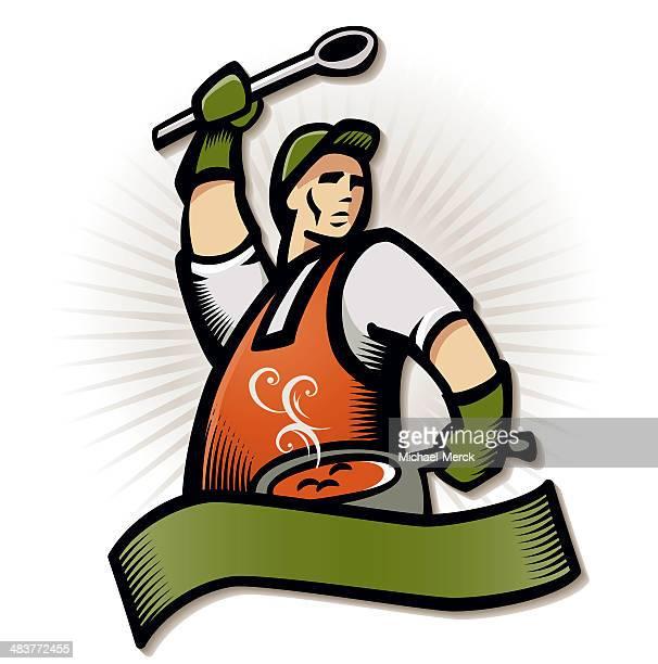 ilustrações de stock, clip art, desenhos animados e ícones de cook-off emblema - pimenta