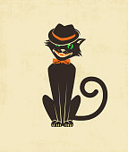 Cool black cat in a fedora for Halloween cards, banners, posters. Vintage style vector illustration.