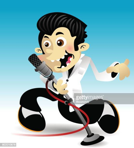 cool boy singing - microphone stand stock illustrations