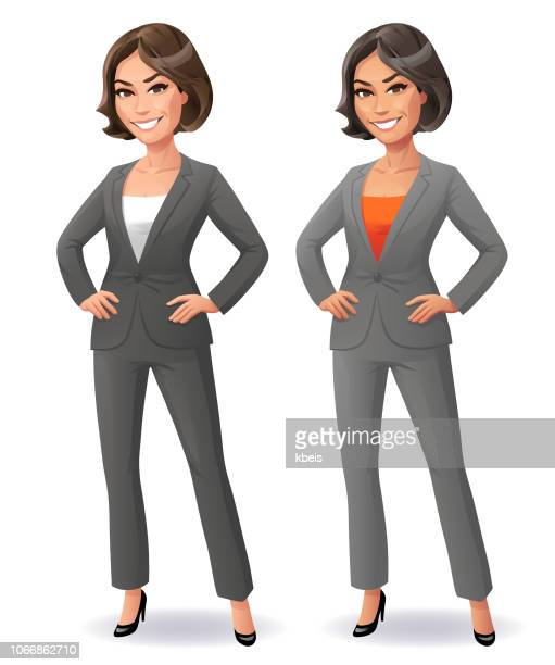 cool businesswoman with hands on hip - businesswear stock illustrations
