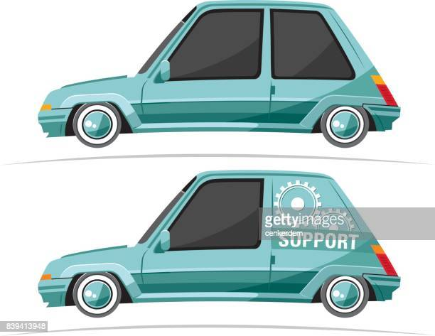 cool car and support - rally car racing stock illustrations, clip art, cartoons, & icons