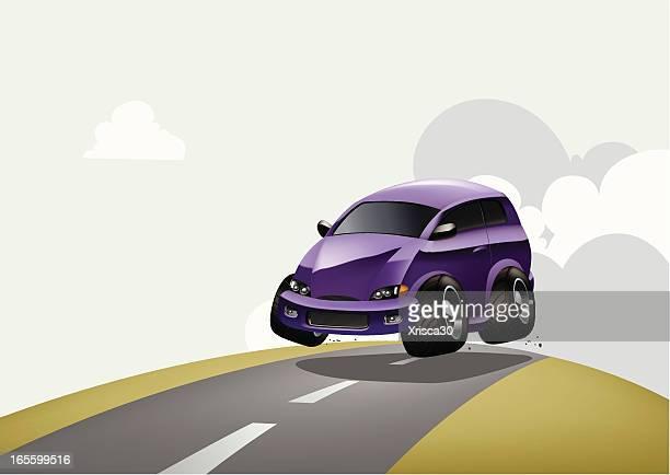 cool car running fast - hatchback stock illustrations, clip art, cartoons, & icons
