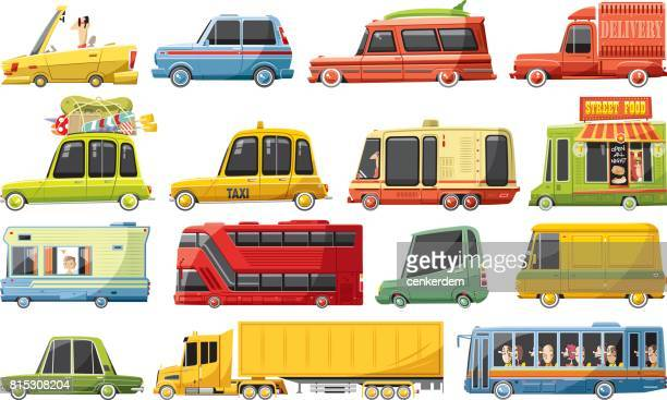 cool car set - yellow taxi stock illustrations, clip art, cartoons, & icons