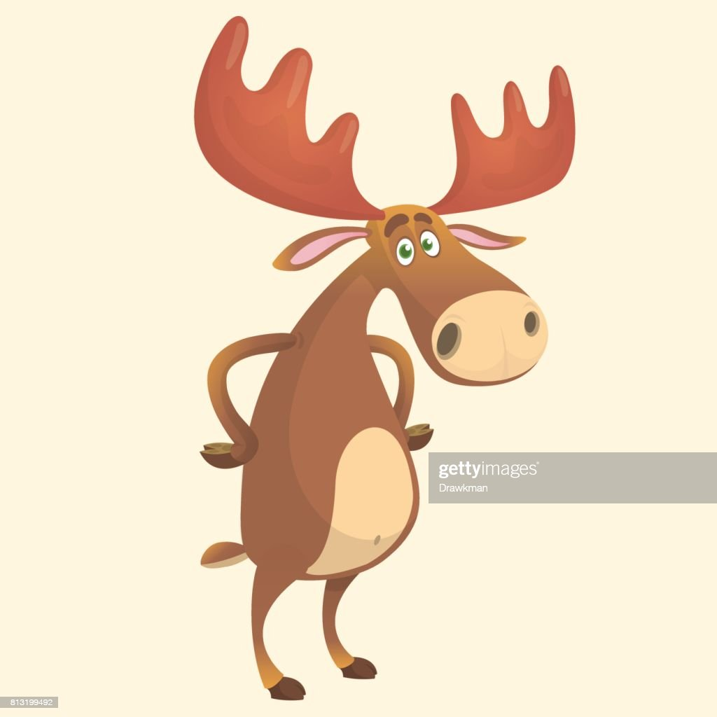 Cool carton moose. Vector illustration isolated.