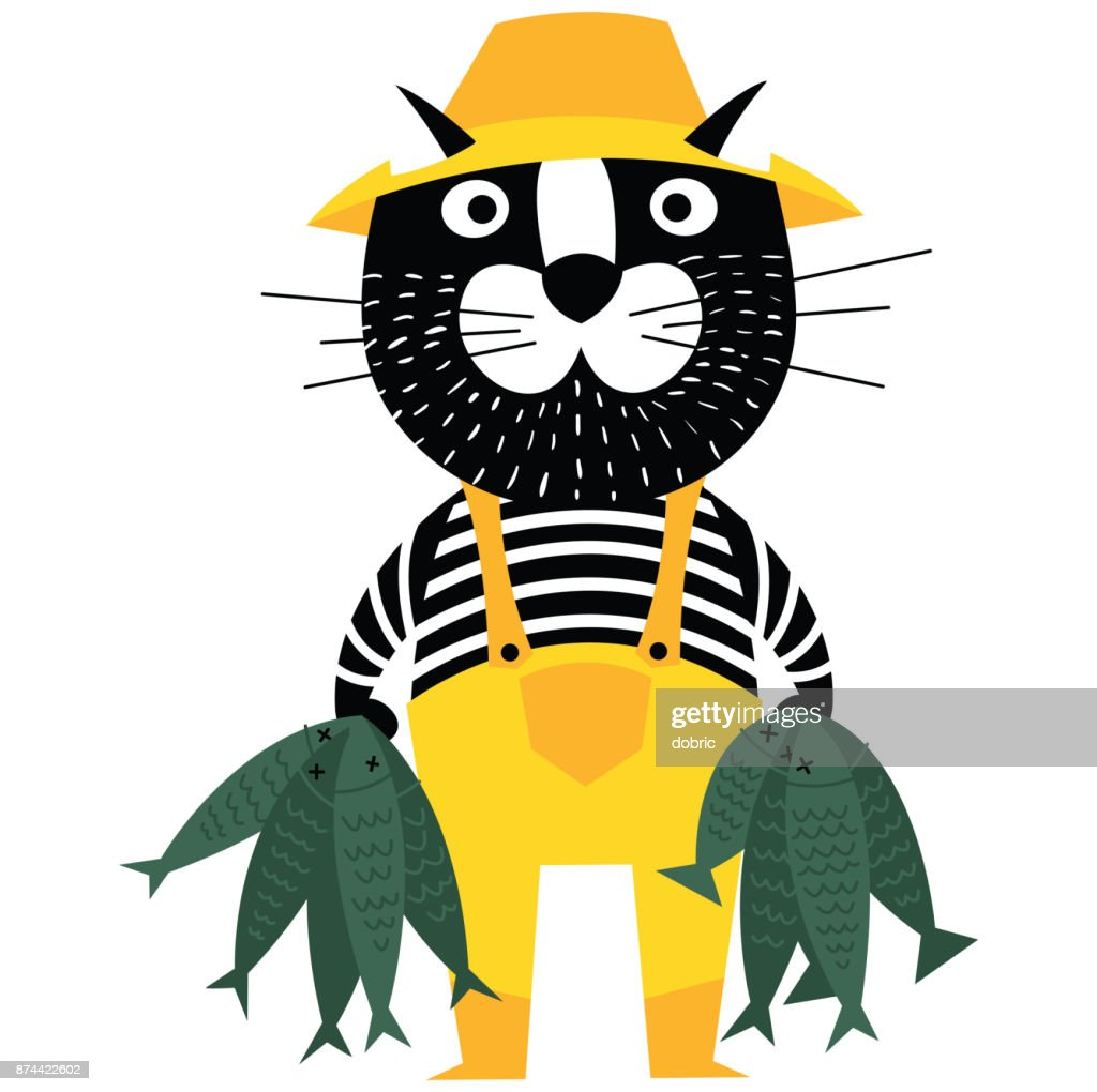 Cool cartoon cat like fisherman holding fishes.
