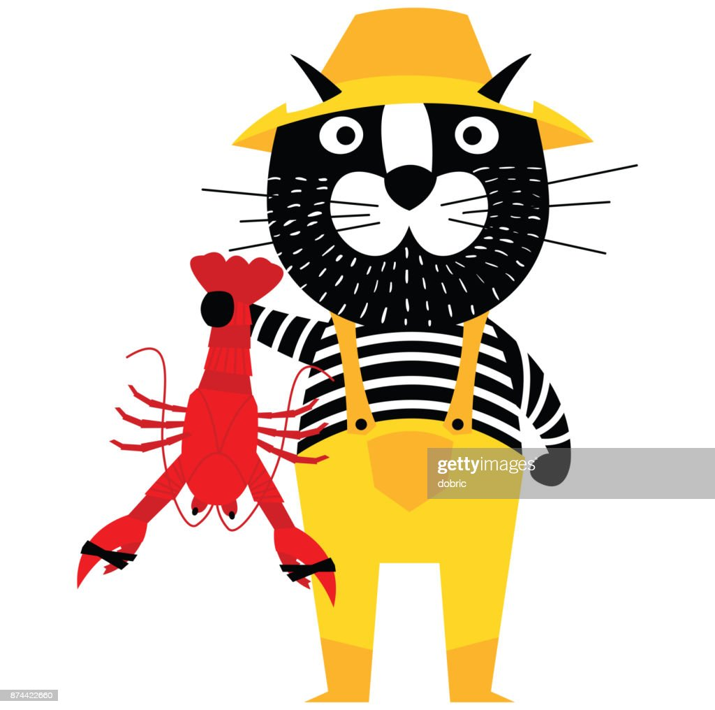 Cool cartoon cat like fisherman holding lobster.
