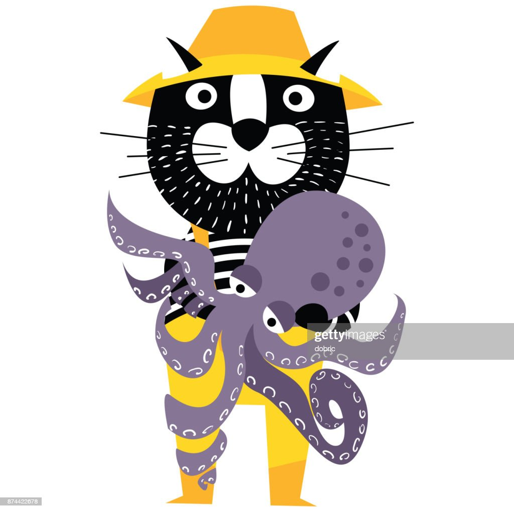 Cool cartoon cat like fisherman holding octopus.