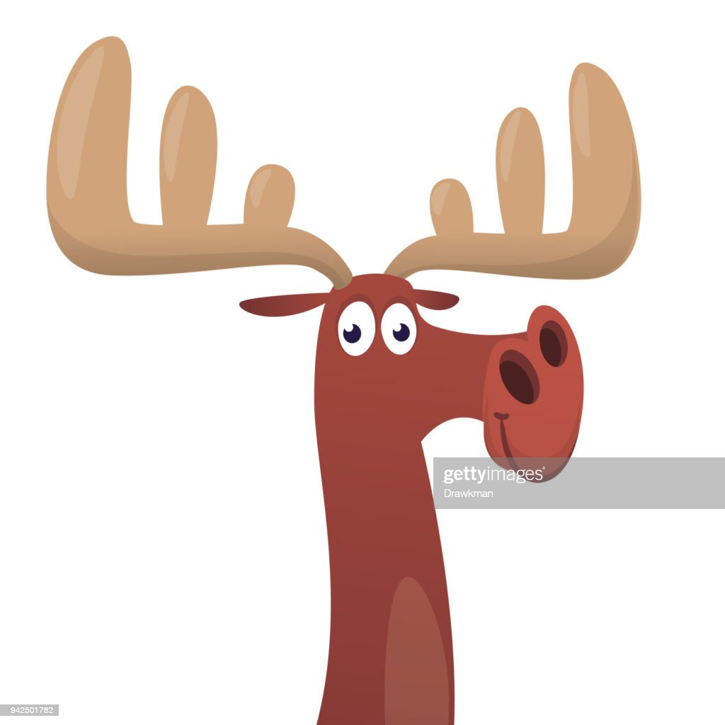 Cool cartoon moose. Vector illustration isolated. Poster design of sticker
