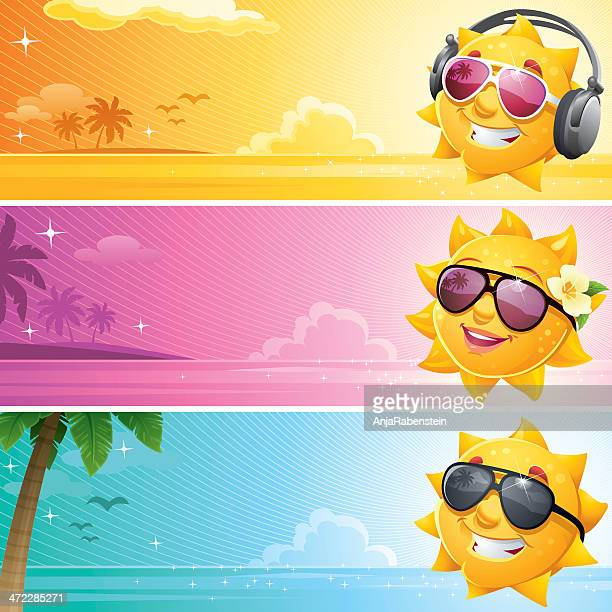 Coole Cartoon Sonne Sommer-Banner