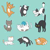 Cool doodle abstract cats vector characters. Hand drawn cartoon kittens