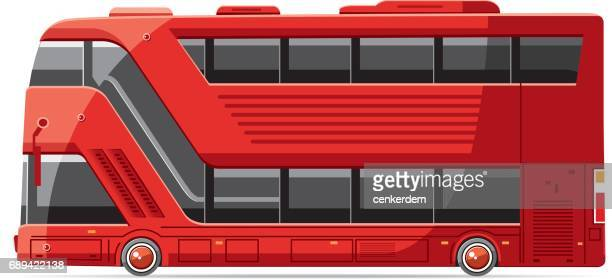 ilustrações de stock, clip art, desenhos animados e ícones de cool double bus vector - panorâmica