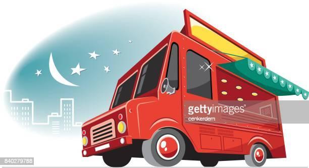 stockillustraties, clipart, cartoons en iconen met cool voedsel vrachtwagen - food truck
