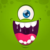 Cool green monster face with one eye. Cartoon vector illustration. Big set of monster faces