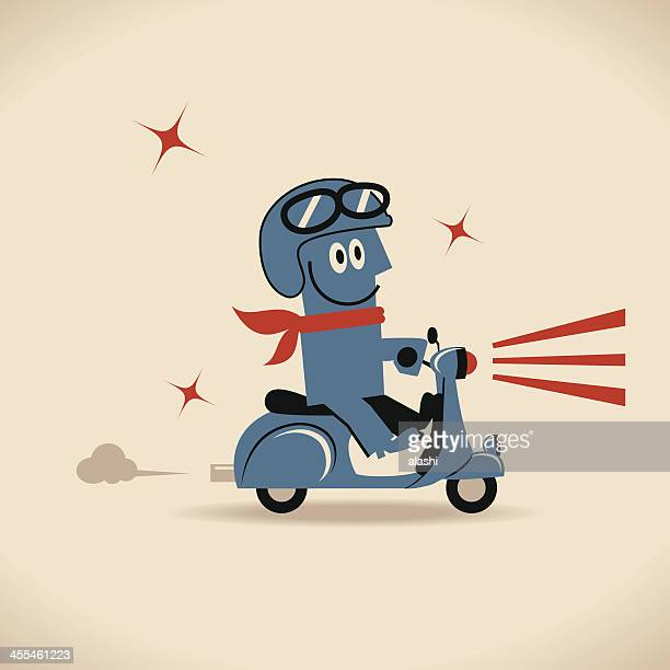 ilustraciones, imágenes clip art, dibujos animados e iconos de stock de cool guy riding motorcycle - casco moto