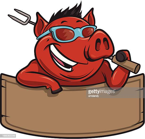 cool hog bbq and banner - pig stock illustrations