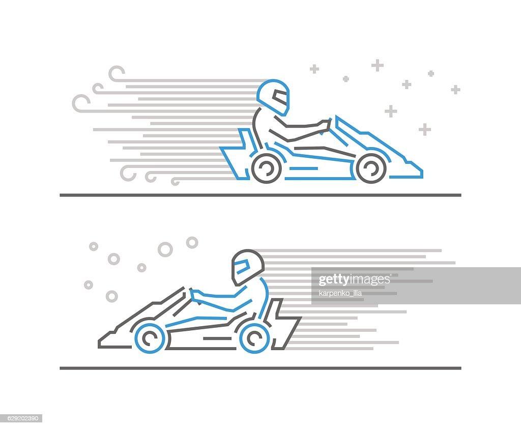 Cool line go kart and karting symbol