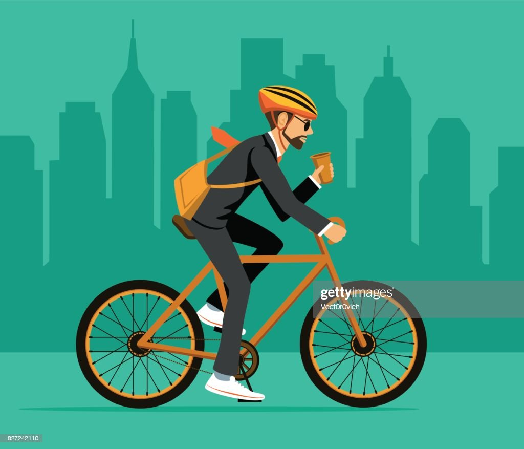 Cool Man Businessman riding bicycle to office. Eco friendly trendy city bike to work