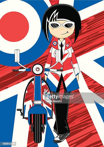 Cool Mod Girl with Retro Scooter