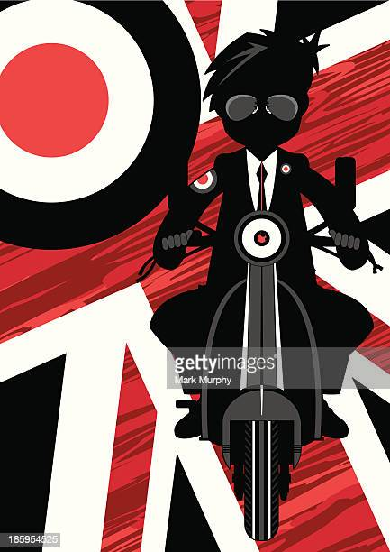 cool mod on scooter in silhouette - moped stock illustrations, clip art, cartoons, & icons