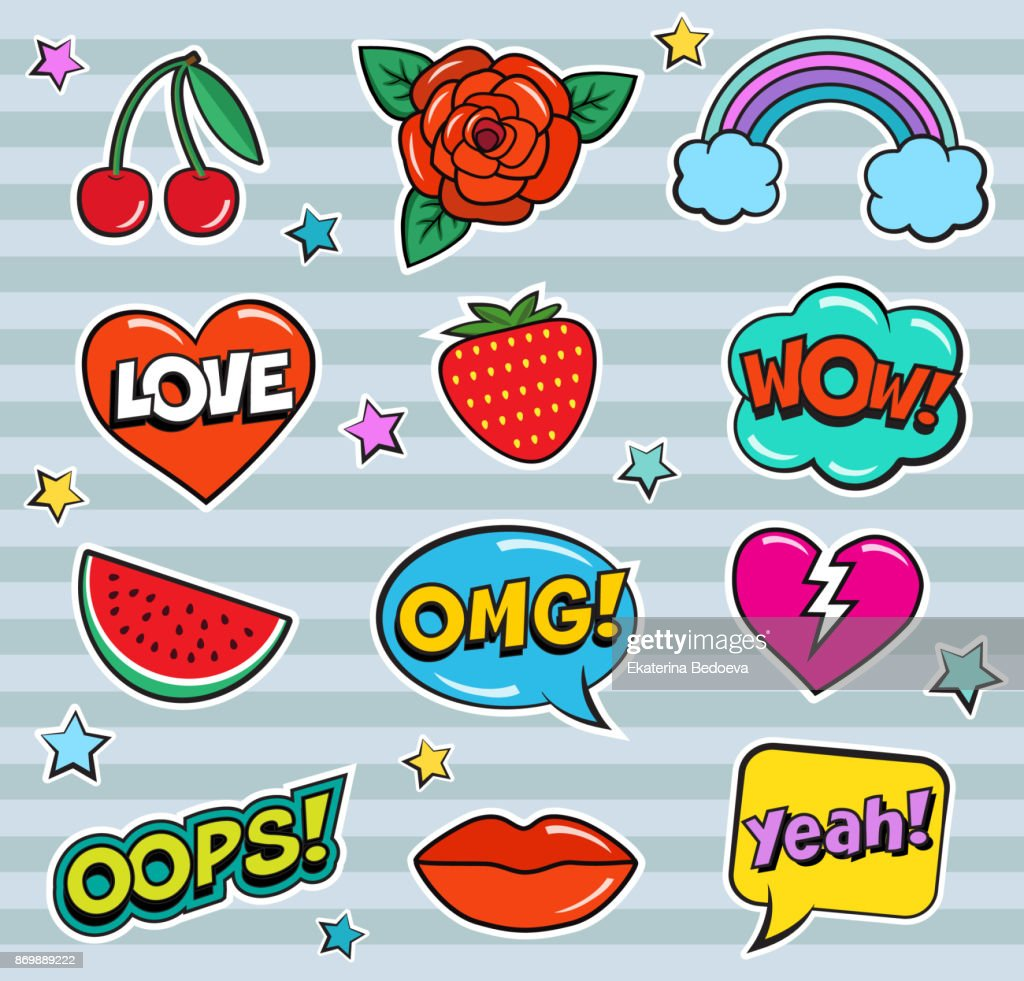 Cool modern colorful patch set on gray background. Fashion stickers of cherry, strawberry, watermelon, lips, rose flower, rainbow, hearts, retro comic bubbles, stars .