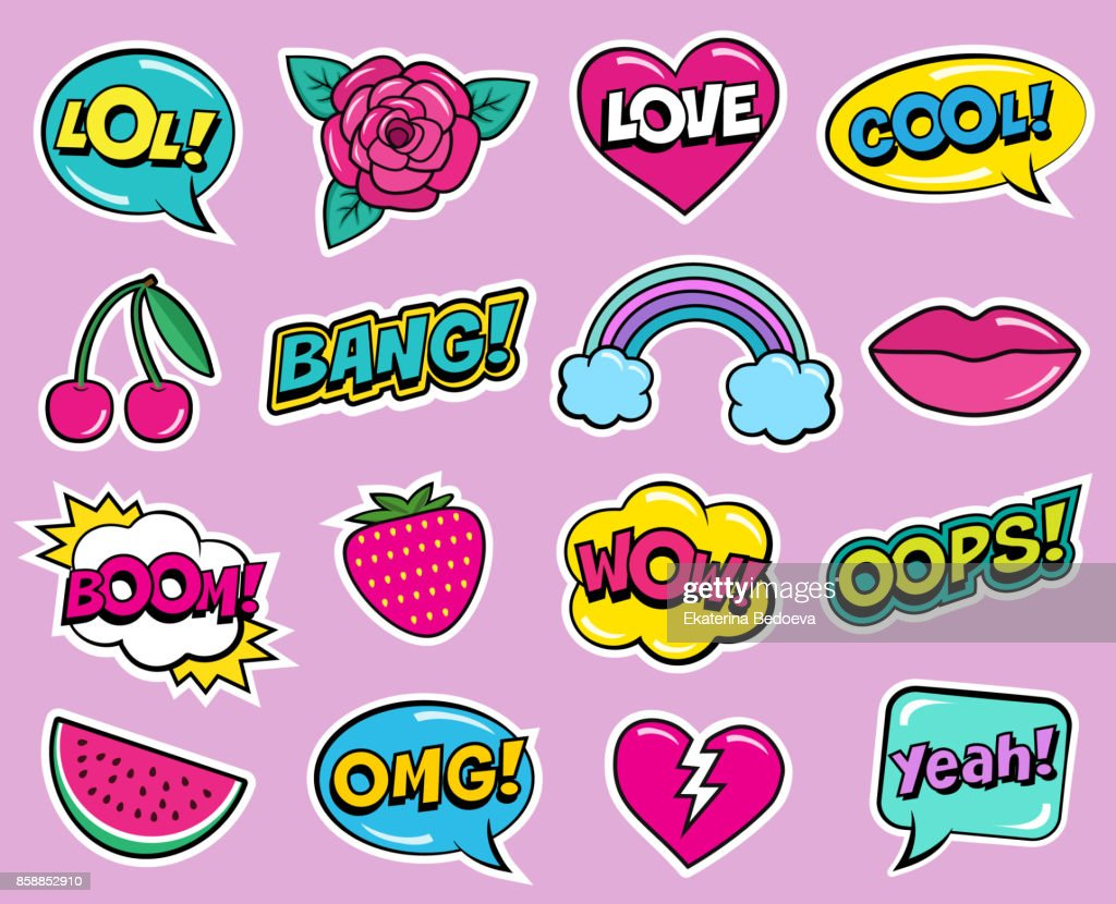 Cool modern colorful patch set on pink background. Fashion stickers of cherry, strawberry, watermelon, lips, rose flower, rainbow, hearts, retro comic bubbles, stars .