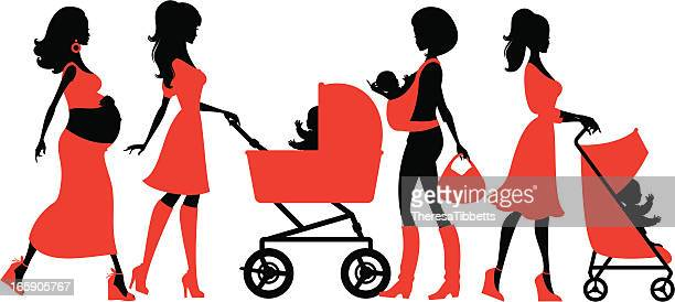 cool motherhood - baby carriage stock illustrations