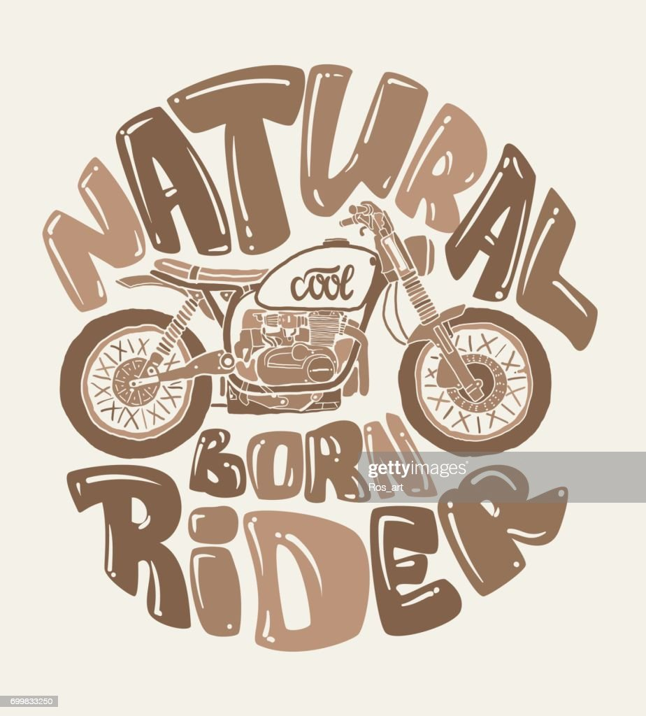 Cool motorcycle print design, vector illustration.