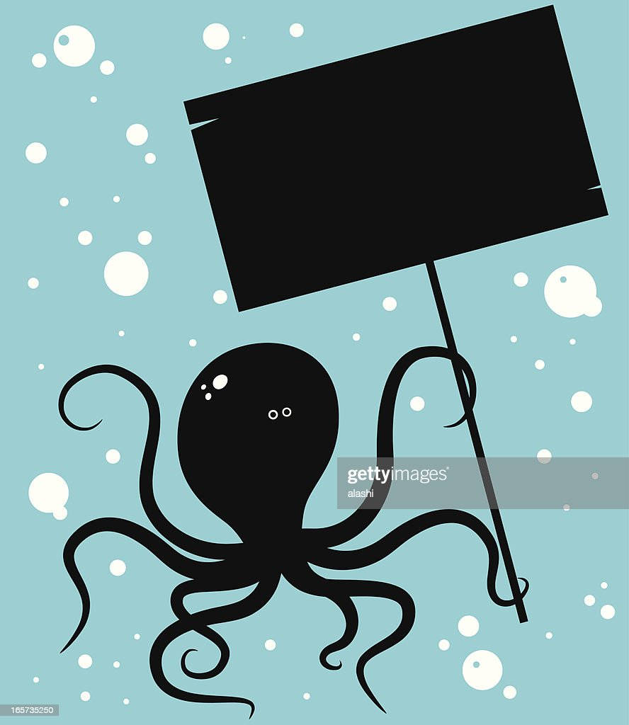 cool octopus holding a blank sign vector art getty images