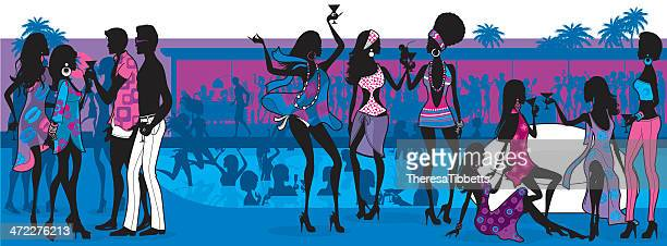 cool pool party - party social event stock illustrations, clip art, cartoons, & icons