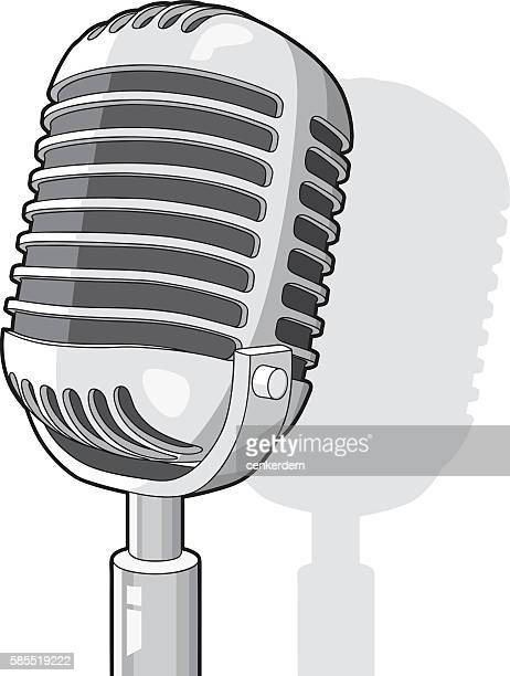 cool radio microphone - karaoke stock illustrations