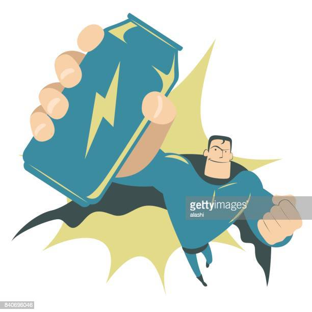 cool retro style smiling strong superhero flying and holding (showing) a huge energy drink can - drink can stock illustrations, clip art, cartoons, & icons
